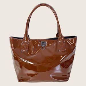 Love Moschino Brown Patent Leather Tote Bag Purse